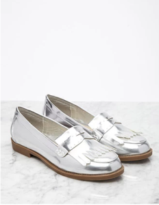 Silver Fringed Patent Loafers from Forever21--$24.90